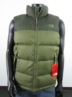 NWT Mens TNF The North Face Novelty Nuptse Full Zip 700-Down Puffer Vest  Green d3e23c51d