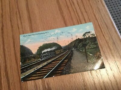 Postcard Of Train Black Cut , Phillipsburg, N J