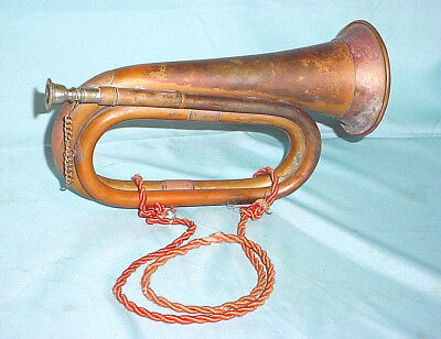 "Vintage 11"" Copper & Brass Bugle Charge Horn Military Boy Scout Re-enactment"