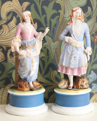 A Smart Antique Pair c19th Pottery Spill Figurines, Classical, Eastern, Lion