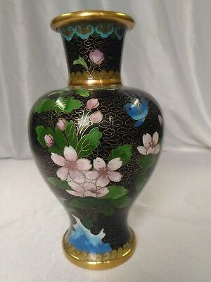 Beautiful Chinese Cloisonne Bird Vase with Ornate Stand