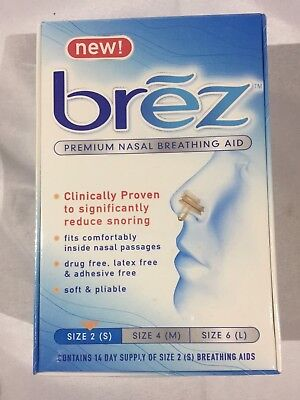 Lot of 6 Boxes Brez Premium Nasal Breathing Aid Reduce Snoring - Size 2 Small