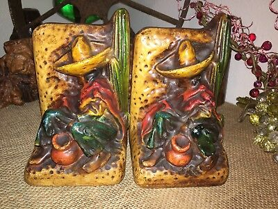 Wonderful Vintage Antique Mexican Folk Art Siesta Men Chalk Ware Bookends