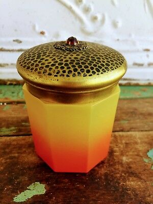 Antique Enamel Painted Vanity Jar Amberina color Hammered Tin Lid Rhinestone