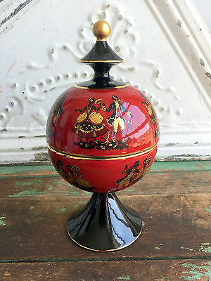 Vintage Florentine Candy Dish covered Victorian Lovers Couple scene Red Black