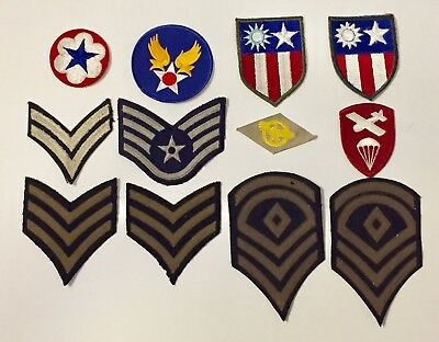 Vintage WW2 Military Patches 1940s Shoulder Chest Lot Of 12 A202-3
