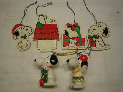 SNOOPY ORNAMENTS Wood CERAMIC PEANUTS 1958 Hawaiian Wreath Lot Christmas