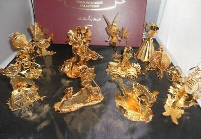Danbury Mint Disney Collection Gold Plated Christmas Ornaments Lot of 11 & Box