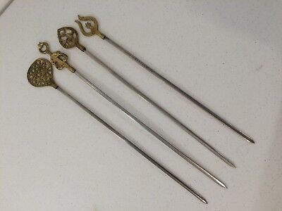 Set of 4 Brass Stainless Steel India Skewers Vintage Copper source California