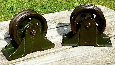 Pair of Large Antique Industrial Cast Iron Barn Pulley Reclaimed Steampunk Nice!