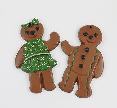 Vintage Gingerbread Man & Woman Christmas Ornament Holiday Tree Decoration Lot
