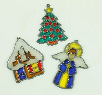 Vintage Stained Plastic & Metal Christmas Ornament Holiday Tree Decoration Lot