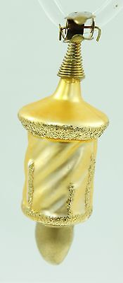 Vintage Gold Glitter Glass Christmas Ornament Holiday Tree Decoration