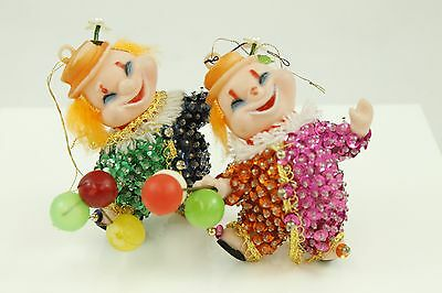 Vintage Colorful Clown Made Japan Christmas Ornament Holiday Tree Decoration Lot