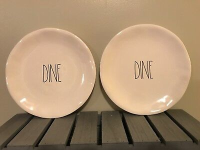 """Rae Dunn New """"DINE"""" 2018 10 Inch Ceramic Dinner Plate Set Of Two! See All Photos"""