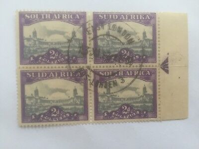 SOUTH AFRICA  1945 2d block of 4 used stamps - right arrow tab