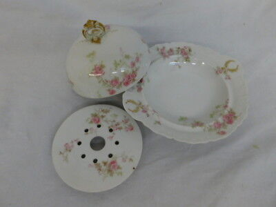 Haviland Limoges France Antique China Pink Flower Cheese Dish Lid Insert Butter