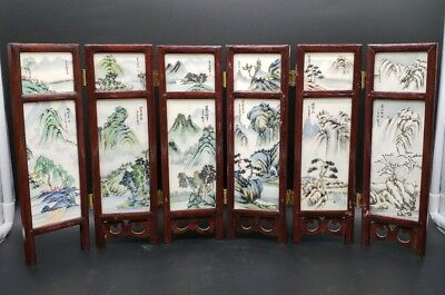 Prc Chinese Hand Painted Scholars Table Screen Procession Of The Seasons Signed