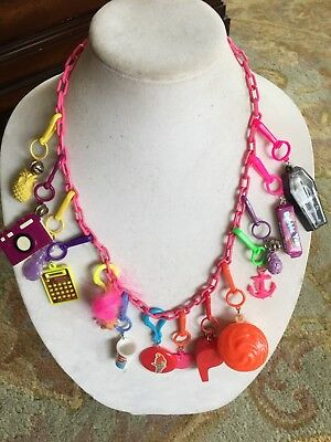Vintage New Plastic 80's Bell Charm Necklace Retro Clip On 1980 Camera Skeleton
