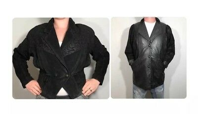 VTG 80s Leather Jackets His Hers Couples Costume Halloween Greaser Biker Mod