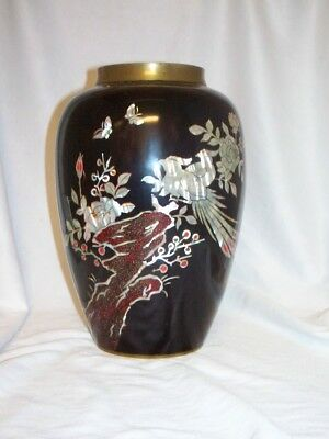 Vintage Korean Mother of Pearl & Lacquer High Gloss Black Vase With Pheasant NR
