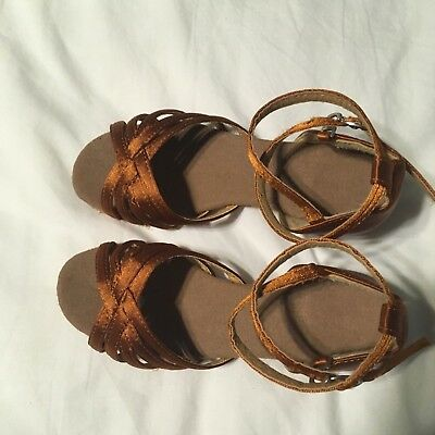 Little Girls Ballroom Dance Shoes Latin Salsa Leather Sole Used Size12