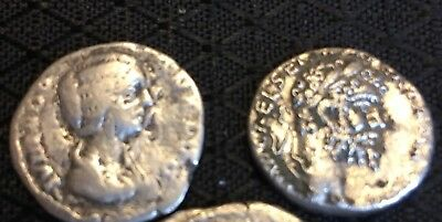 Lot Of 2 Ancient Roman Silver Coins Denarius~Septimius Severus&Julia Domna~VF+