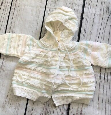 Infant Baby Girl Vintage Knit Striped Made In Italy Sweater 0-3 M 70's Hooded
