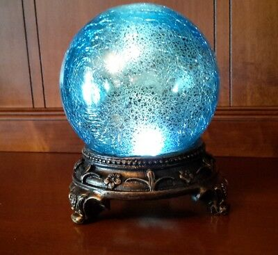 Blue Glass Crackled Gazing Ball Accent Table Lamp Light