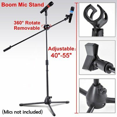 360-degree Rotating Microphone Stand Dual Mic Clip Boom Arm Foldable Tripod MX