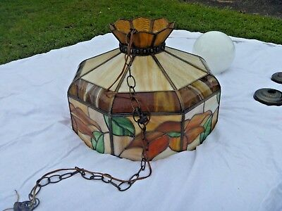 TIFFANY STYLE VINTAGE 1970s STAINED GLASS HANGING LIGHT - 20 IN. - AMBER/RED
