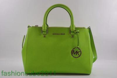 bee6de1f8a9 New With Tag MICHAEL MICHAEL KORS Sutton Medium Satchel Leather Bag-Pear  (Green)