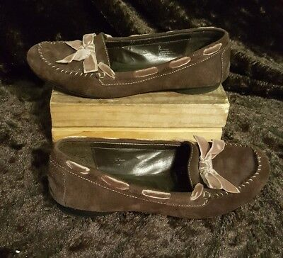 Women's Cherokee Brown Suede Boat Shoes Loafers Size 9 Leather Slip On