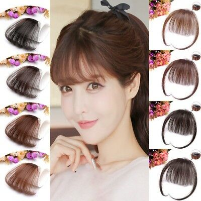 Fashion Women Thin Neat Air Bangs Clip Hair Korean Style Fringe Front Hairpiece