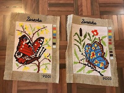 Set Zaneska finished tapestries needlepoint butterflies spring garden colourful