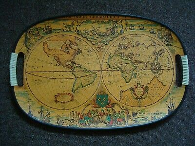 VINTAGE WOODEN TRAY FROM 1970s - MAPS OF THE WORLD - EXCELLENT