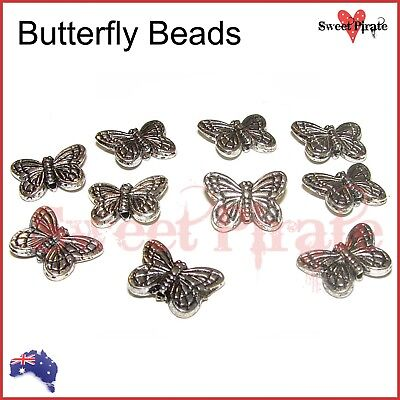 Silver Plated Antique Butterfly Beads DIY Earrings Necklace Charm 11x15x3mm