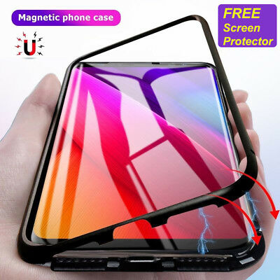 Case For Samsung S8 S9 Magnetic Adsorption Metal Frame Tempered Glass Cover