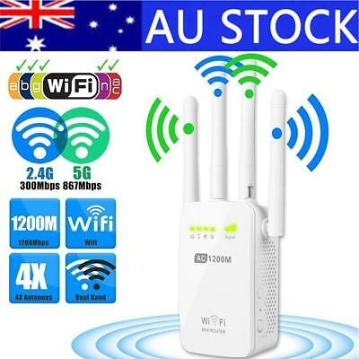 300/1200Mbps Dual-Band 2.4 / 5G 4-Antenna WIFI Range Extender Repeater Router