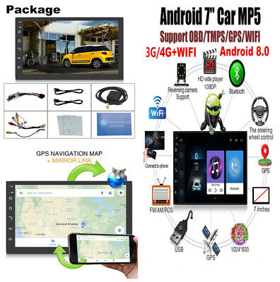 7'' 2Din Touch Quad-Core 1+16G Car Stereo MP5 GPS Navigation Reverse Video DVR