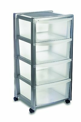 "Stefanplast ""Libera"" 4 Drawers High Storage Unit, Silver, 40 x 40 x 80 cm"