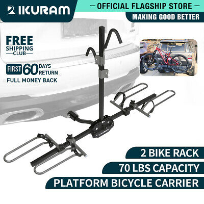 "IKURAM 2 Bicycle Bike Carrier 2"" Hitch Mount Upright Platform Rack Heavy Duty"