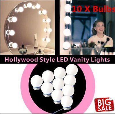 10 Light Bulbs Hollywood Style LED Makeup Vanity Mirror Lights Kit D  M+