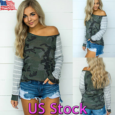 Women's Camo Off Shoulder Graphic Striped Long Sleeve Casual Loose Shirt Tops US