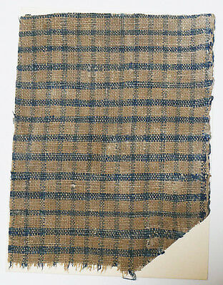 13-15C Antique Textile Fragment - Dyeing and Weaving, Latticed Pattern