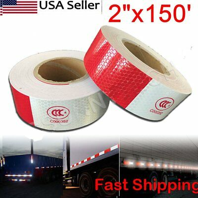 """2""""x150' Red + White Reflective Conspicuity Car Trailer Safe Tape Approved 1 Roll"""