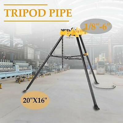 "460 6"" Tripod Pipe Chain Vise Stand w/ Steel Legs & Rubber Mounts bib"