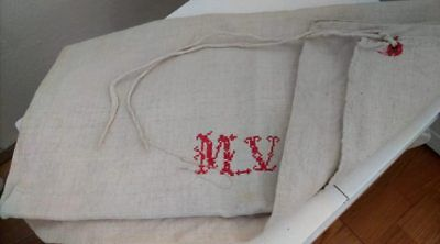 Vintage GRAINSACK-hemp feed MV red monogram linen homespun GRAIN SACK feed bag