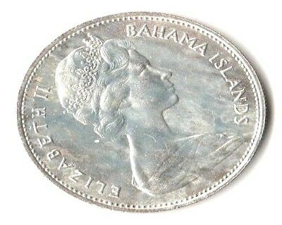 1966 Bahama Islands Conch Shell One Dollar. 80% Silver. ALMOST UNCIRCULATED.
