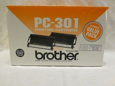 New Genuine Brother PC-301 2 Pack Printing Cartridge Black Fax New Ink Value Pac